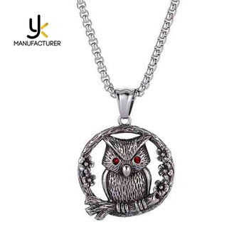 Casting Technology Men's Vintage Lovely Stainless Steel Owl Pendant Necklace