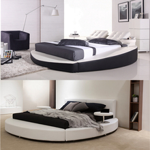 Foshan elegant ronmantic wedding circle bed furniture, european king size round leather bed on sale
