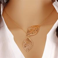 jewelry fashion dreamcatcher gold leaves pendant necklaces