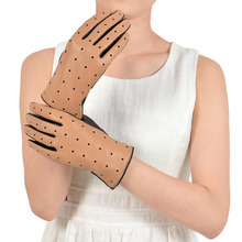 Ladies Perforated Touchscreen Leather Driving Gloves