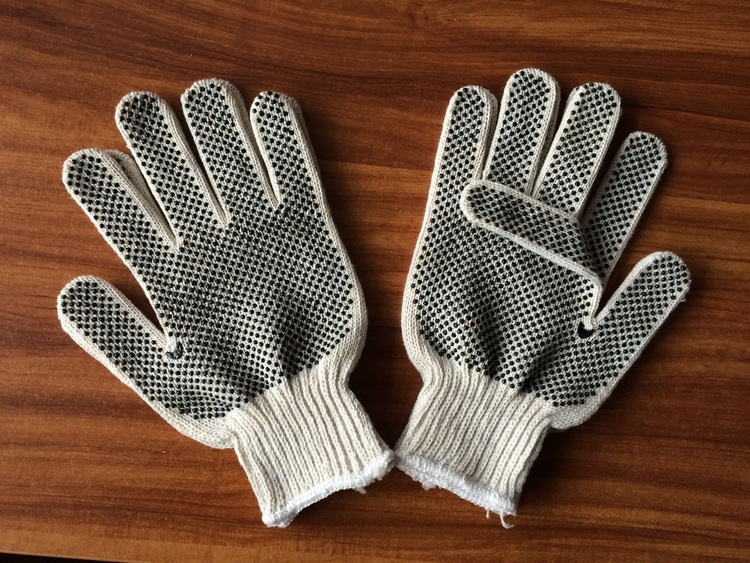 Double dotted work glove