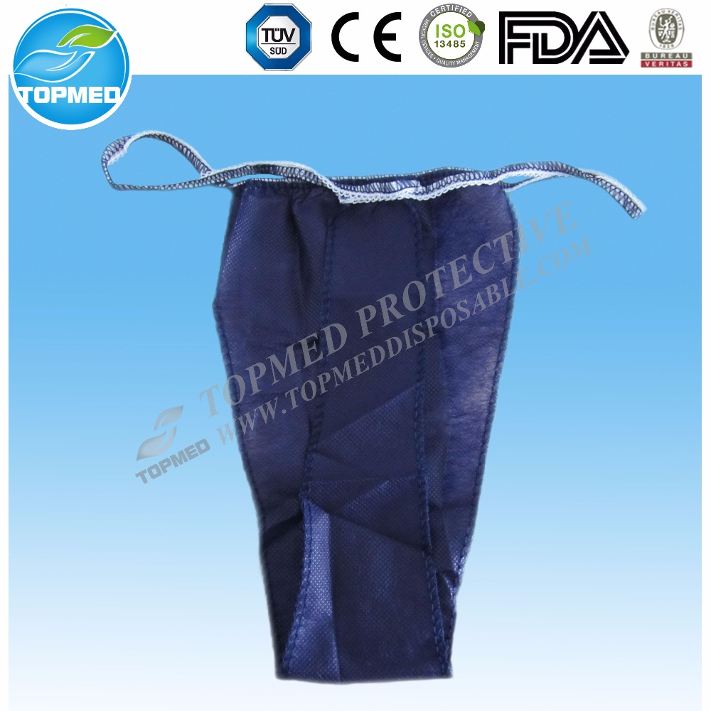 disposable non woven thong with tie on waist, blue thong for man