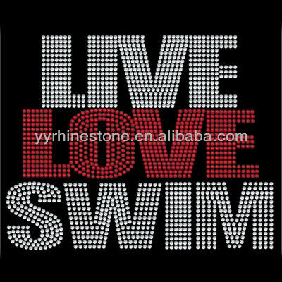 Rhinestone Live Love Swim Hot Fix Iron On Transfer T-Shirt