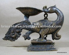 Bronze Finish Brass Statue of Bird Deepal oil lamp