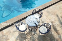 PE RATTAN WICKER GLASS GARDEN TABLE & POOL FURNITURE