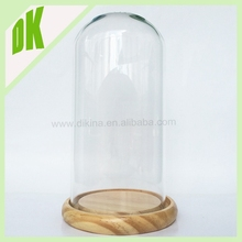 india home accessories vase { we can offer wooden tray / lid , metal holder } Wholesale clear glass dome with electroplated base