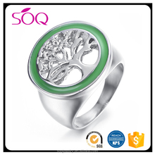 2017 New arrival product high polished hollow tree green decoration jewelry gift party ring
