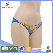 Embroidered Blue Women Sexy Panty Model Womens Mature Panties