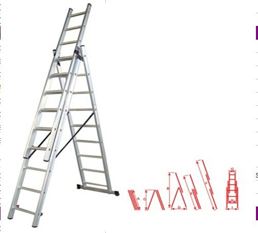 WK-E09 aluminum 3 section extension ladder/step extension ladder/three parts combination extension ladder