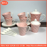 2016 color mud soil porcelain ware ceramic tea cups and coffee pot & kettle with cups sugar pot and milk pot set