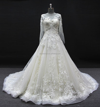 6741 alibaba long sleeve lace wedding dress