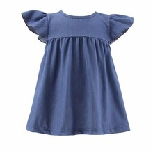 wholesale kids latest jeans tops girls denim dress baby girls tunic smocked frock