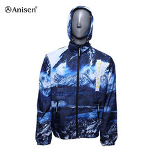ocean blue printed waterproof mesh lining outdoor lightweight windbreaker jacket