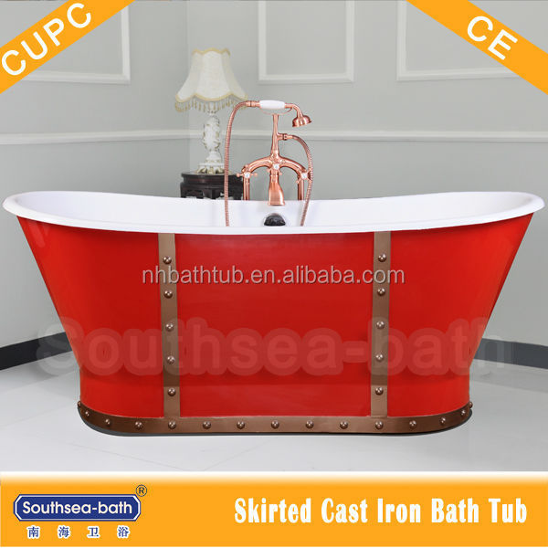 Freestanding red hot painted skirted cast iron bathtub sale