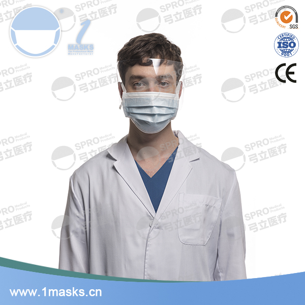 High quality non-woven disposable 3 ply protective face shield dental