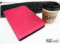 NIZWELL Ostrich Diary Wallet Phone Case for Apple iPad Mini 2 Ostrich Skin Pattern Handmade Fashion Item Magnetic Holde