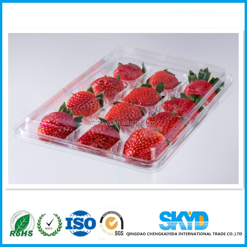 Disposible plastic fruit tray,Plastic blister fruit tray, PET strawberry box