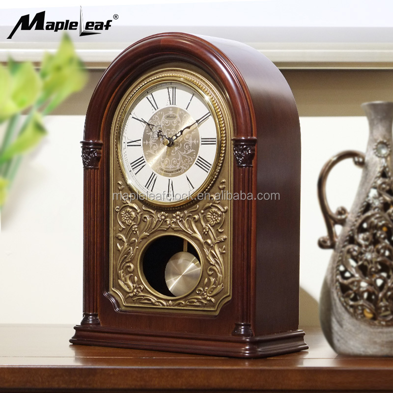 Mantel Wood Clock Metal Pendulum with Westminster Chime
