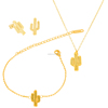 Fashion Cactus Charm Necklace Earrings Bracelet Jewelry Sets 2017 Jewelry Fashion Gold Plated Jewellery Sets