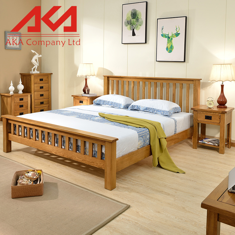 Chinese Manufacture Solid Slab Wood Bedroom Queen Size Bed Frame Wood