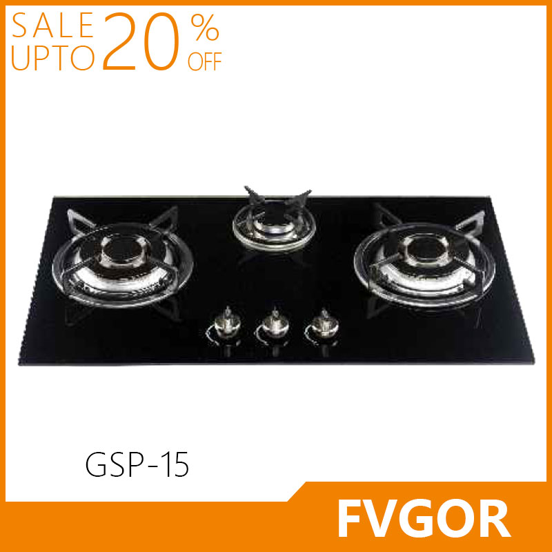Fvgor GSP-15 built in kitchen tempered glass stove gas cooking range in pakistan