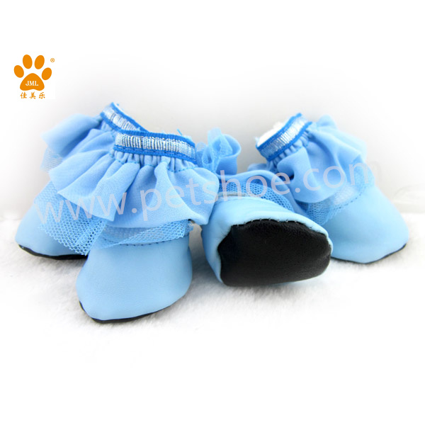 JML wholesale factory price pet supply dog shoes socks in light blue cute lace boot socks