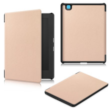 Hot selling Fashional(caster-grain)Ultra-Thin PU leather flip tablet case for Kobo Aura H2O Second Edition With stand function