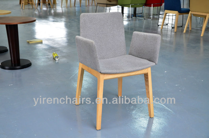 Living room wooden chair with soft fabric seat/Dining room armrest wood chair with soft seat/wooden chair spandex chair cover