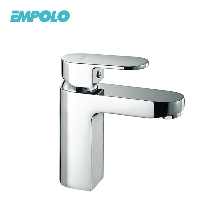 Bathroom chrome plating single handle hot and cold water tap basin faucet