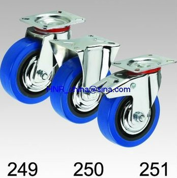 blue elastic rubber wheel industrial caster swivel or rigid or swivel with double locks