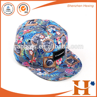 2016 wholesale stylish floral printing 5 panels snapback flat mesh hat and caps