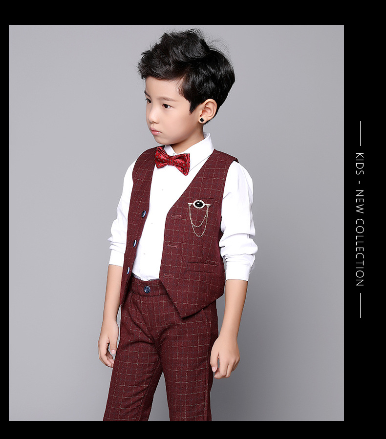 Child Clothes vest pants suits formal wear baby boy groom wedding suits