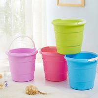 13L household candy color plastic water bucket with handel unbreakable durable plastic bucket