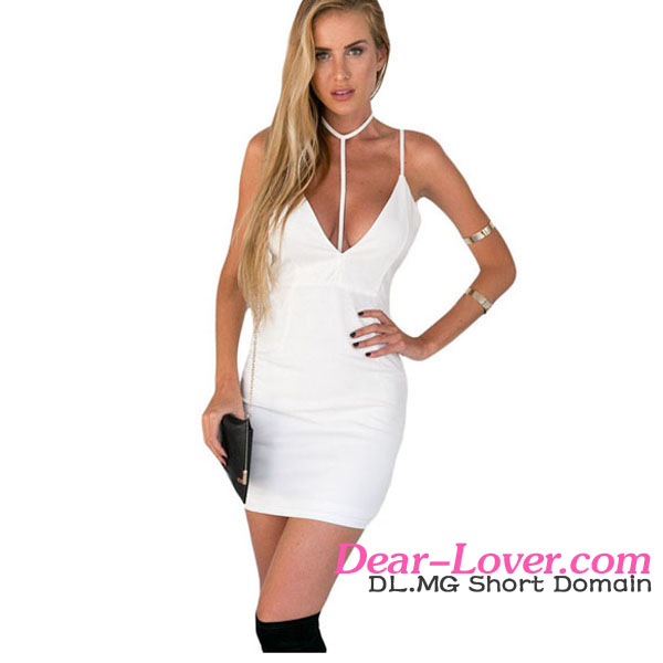 sexy girls photo without dresses White Backless T-bar Design Sexy Hem Bodycon Dress