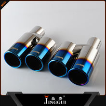 Exhaust tip muffler dual twin round slanted Stainless Steel 3