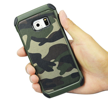 Heavy duty hybrid soft black silicone cover hard Camo for S6 edge