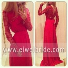 Sexy long chiffon red applique long sleeve see through prom dress
