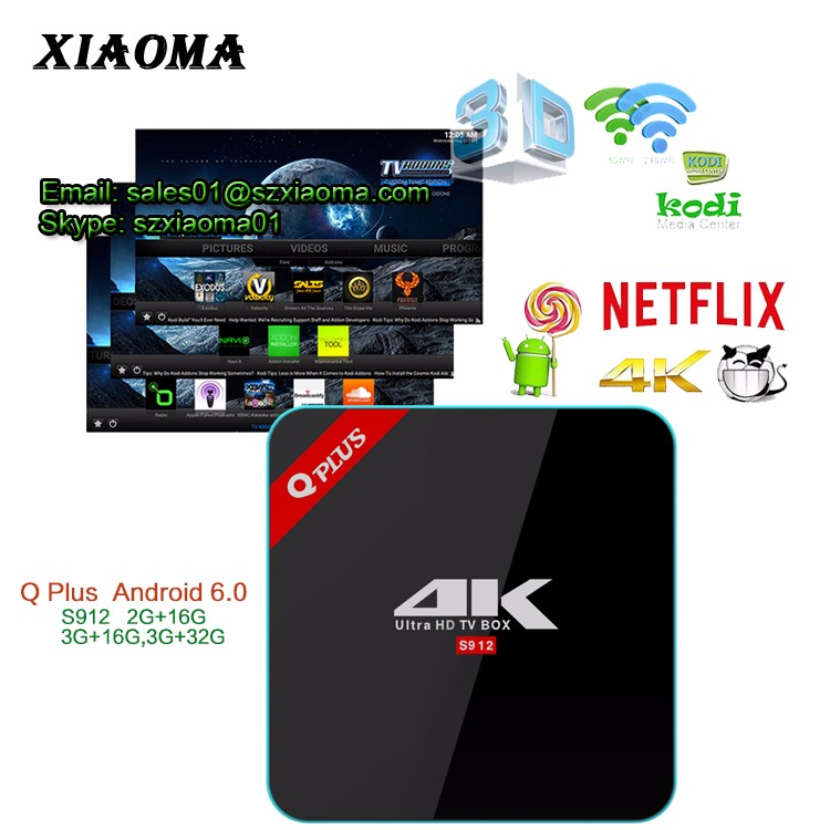 2017 Newest Q-Plus 2GB DDR 16GB EMMC CPU Amlogic S912 Octa core Q Plus android 6.0 TV BOX