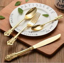 wholesale gold plated flatware sets, bulk gold flatware, wedding cutlery set B995