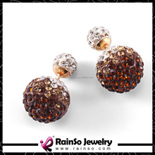 Shamballa Crystal Double Side Pearl Stud Earrings for Women