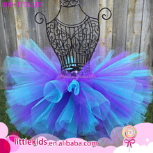 Baby Kids Girls Princess Dance Extra Puffy Aqua and Purple Rainbow Tulle Tutu Dance Skirt Ruffle Tiered Petticoat Party Dress
