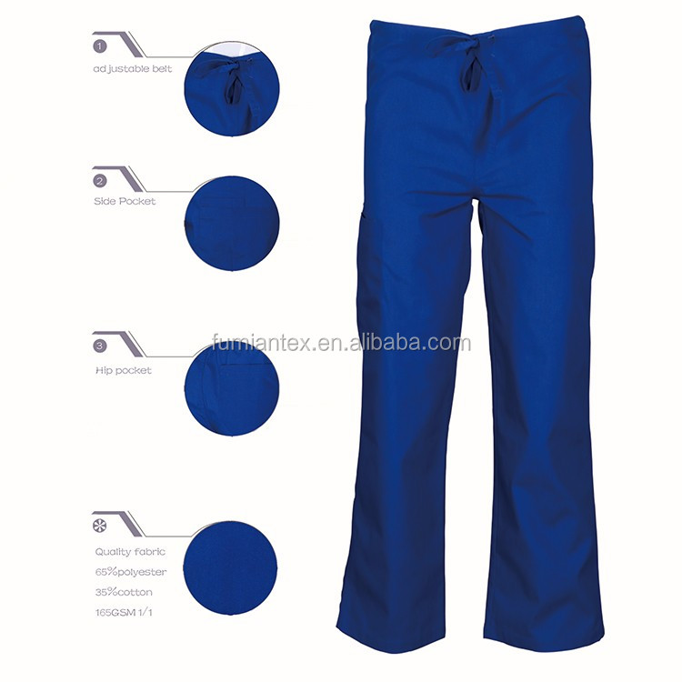 plain dyed uniform practical blue scrub pants sale