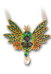 2 Butterfly Gold Plated Silver Diamond/ CZ Studded Transparent Enamel Pendant Code P-346