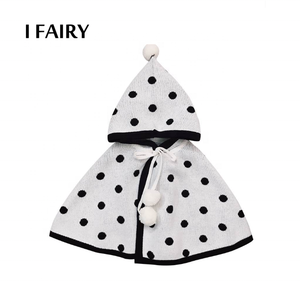 Infant Baby Spots Pompon Lace-up Windproof Poncho Coat With Hood