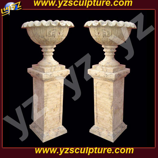 Outdoor decor white marble vase FPTN-122