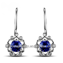 Popular 925 Silver Single Blue Stone Fashion long chain antique earrings design