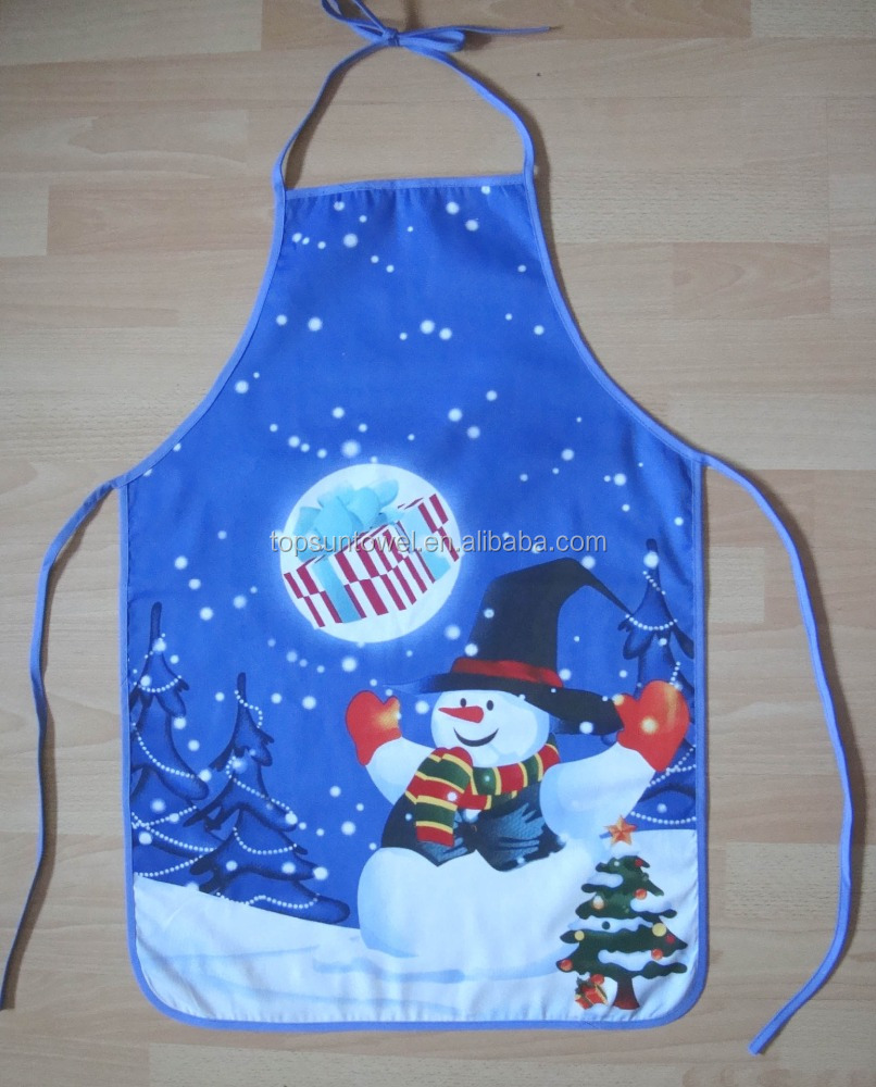 100% cotton printed kids xmas kitchen apron christmas