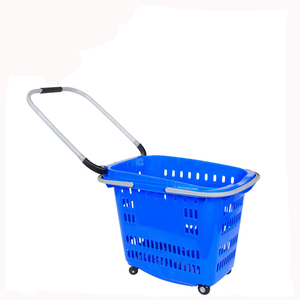 supermarket small plastic shopping baskets holder shopping carts with 4 wheels