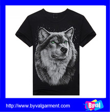 2015 China new arrival wolf 3d t-shirts custom 3d printing t-shirts style factory price
