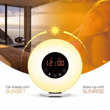 2017 Upgraded wake up light kids led sunrise alarm clock with FM radio sound and snooze wake-up light sunlight alarm clocks